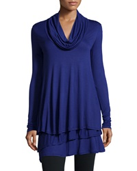 Neiman Marcus Tiered Cowl Neck Long Sleeve Tunic Concord Crush