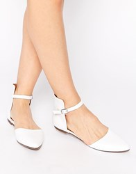 Warehouse Leather Point Ballet Flats White