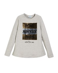 Mayoral Rome New York Paris Long Sleeve Tee W Sequins Gray