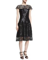 Talbot Runhof Noix Chrysanthemum Sequined Fit And Flare Cocktail Dress Black