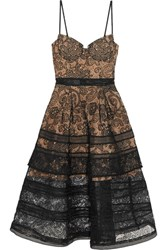 Self Portrait Tiered Paneled Guipure Lace Dress Black