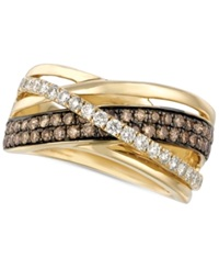 Le Vian Chocolate And White Diamond Crossover Ring In 14K Gold 9 10 Ct. T.W.