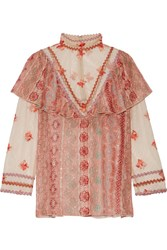 Anna Sui Printed Metallic Fil Coupe Chiffon And Embroidered Tulle Blouse Pink