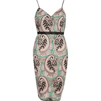 River Island Womens Green Plant Print Lace Panel Bodycon Dress