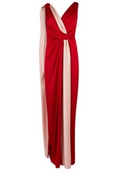 Paule Ka Red And Pink Draped Satin Gown