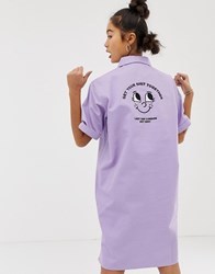 Lazy Oaf Relaxed Shirt Dress With Zip Collar Purple