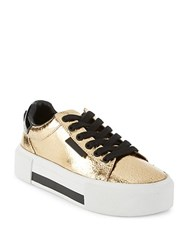 Kendall Kylie Tyler Leather Platform Sneakers White Black