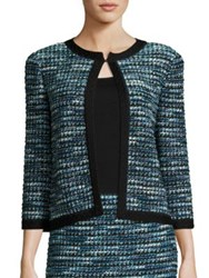 St. John Tweed Three Quarter Sleeve Cardigan Blue Multi