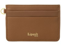 Lipault Paris Plume Elegance Leather Card Holder Cognac Credit Card Wallet Tan