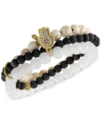 Rachel Roy Gold Tone Hamsa Beaded Multi Row Stretch Bracelet