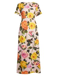 Dolce And Gabbana Rose Print Cady Maxi Dress Pink Multi