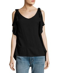 Philosophy V Neck Flutter Sleeve Tee Black