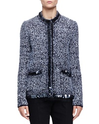 Lanvin Boucle Tweed Sequin Jacket Navy Blue