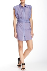 L.A.M.B. Wrap Around Shirt Dress Blue