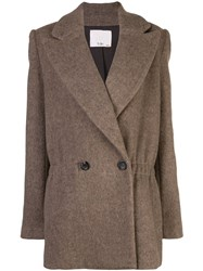 Tibi Oversized Double Breasted Jacket Brown