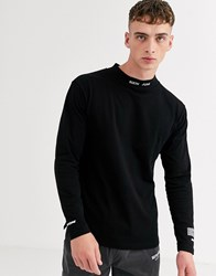 Sixth June High Neck Sweat With Embroidered Logo In Black