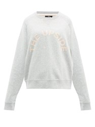 The Upside Flocked Logo Cotton Sweatshirt Grey