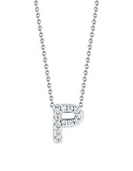 Roberto Coin Tiny Treasures Diamond And 18K White Gold Love Letter Pendant Necklace
