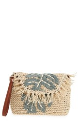 Tommy Bahama Mama Woven Wristlet Beige Leaf Applique
