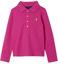 Ralph Lauren Long Sleeved Polo Shirt 5 7 Years Knockout Pink