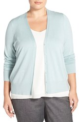 Plus Size Women's Sejour V Neck Cardigan Blue Raindrop