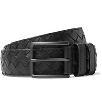 Bottega Veneta 3.5Cm Black Intrecciato Leather Belt Black