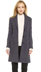 Atm Anthony Thomas Melillo Bonded Overcoat With Faux Fur Backing Donegal Navy