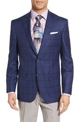 David Donahue Men's Big And Tall Connor Classic Fit Windowpane Wool Sport Coat Medium Blue