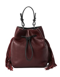 Kenneth Cole Fringe Leather Bucket Bag Brick