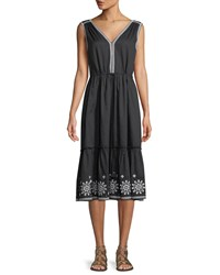 Kate Spade Mosaic Embroidered Midi Dress Black