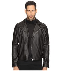 The Kooples Minimalist Leather Perferated Motorcycle Jacket Black Men's Coat