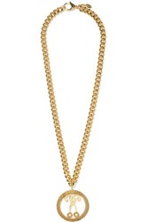 Moschino Gold Tone Faux Pearl Necklace One Size