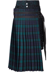 Sacai Plaid Pleated Skirt Blue