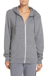 Aviator Nation Women's Bolt Zip Hoodie Heather Grey