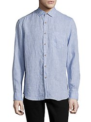 Report Collection Long Sleeve Casual Linen Shirt Chambray