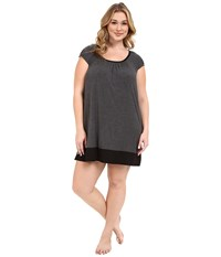 Dkny Plus Size Urban Essentials Cap Sleeve Short Sleepshirt Heather Coal Women's Pajama Gray