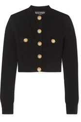 Balmain Button Embellished Jacquard Knit Cardigan Black