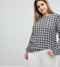 Zizzi Ruffle Detail Gingham Blouse Black White