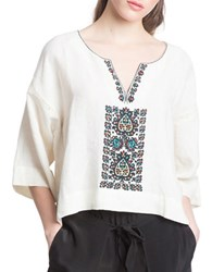 Plenty By Tracy Reese Oversize Embroidered Tee White