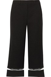 Alexander Wang Cropped Crepe Wide Leg Pants Black