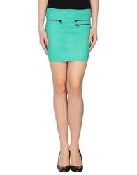 American Retro Leatherwear Leather Skirts Women Light Green