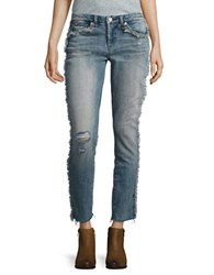 Blank Nyc Distressed Cropped Jeans Blue Fray
