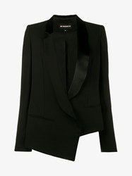 Ann Demeulemeester Virgin Wool Blend Asymmetric Blazer Black Yellow