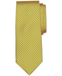Brooks Brothers Men's Micro Sailboat Pattern Classic Tie Yellow