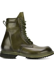 Rick Owens Lace Up Boots Green
