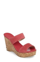 Jimmy Choo Women's Parker Cork Wedge Slide Sandal Pink Suede