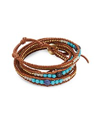 Chan Luu Layered Pearl And Crystal Leather Bracelet Turquoise