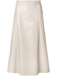 Drome Midi Leather Skirt Nude And Neutrals