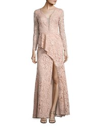 Nicole Bakti Ruffle Accented Deep V Gown Dusty Rose