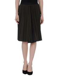 Hache Knee Length Skirts Dark Brown